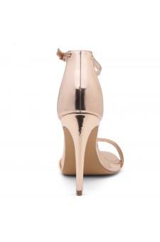 Shoe Land SL-Lovering- Ankle Strap Open Toe Back Closure Stiletto Heel (Rosegold)