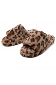 Shoe Land SL-McKenna Womens Fuzzy Slides Open Toe Casual Platform Wedge Sandals Plush Fleece Indoor or Outdoor Slippers (2020/LEOP)