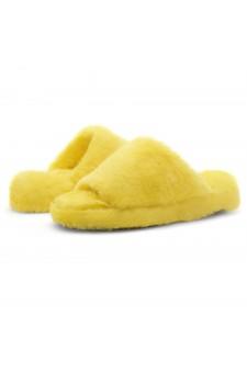 Shoe Land SL-McKenna Womens Fuzzy Slides Open Toe Casual Platform Wedge Sandals Plush Fleece Indoor or Outdoor Slippers (2020Yellow)