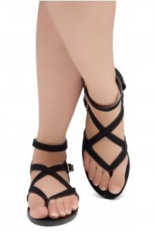 ShoeLand SL-Monaco Women's Open Toes Gladiator Flat Sandals Ankle Strap Thong Shoes(Black)