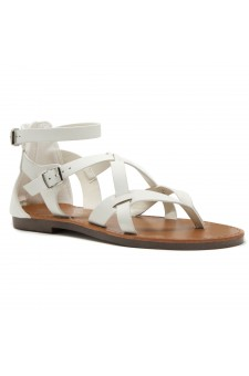 ShoeLand SL-Monaco Women's Open Toes Gladiator Flat Sandals Ankle Strap Thong Shoes(OffWhite)