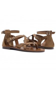 ShoeLand SL-Monaco Women's Open Toes Gladiator Flat Sandals Ankle Strap Thong Shoes(Tan)