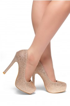 HerStyle SL-Nandita--Stiletto heel Platform, Jeweled embellishments (Rose Gold)