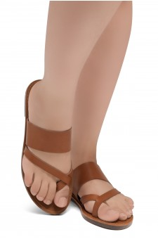 ShoeLand SL-Native- Open Toe Open Back Easy Slide Sandals (2020/Cognac)
