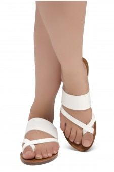 ShoeLand SL-Native- Open Toe Open Back Easy Slide Sandals (2020/White)