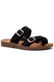 Shoe Land SL-Nolita Women's Flat Gladiator Thong Sandals Greek Platform Low Wedge Shoes (Black)