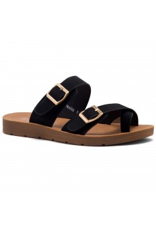 ShoeLand Women's Manmade NOLITA(SL) - Flat Sandal with buckle accents(Black)