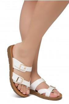 Shoe Land SL-Nolita Women's Flat Gladiator Thong Sandals Greek Platform Low Wedge Shoes (White)