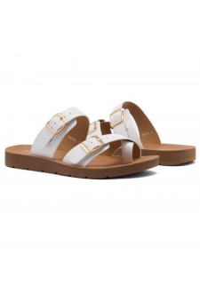 ShoeLand Women's Manmade NOLITA(SL) - Flat Sandal with buckle accents(White)