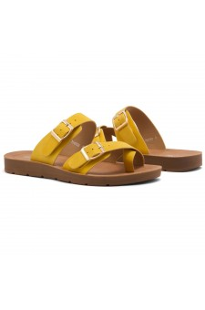 Shoe Land SL-Nolita Women's Flat Gladiator Thong Sandals Greek Platform Low Wedge Shoes (Yellow)