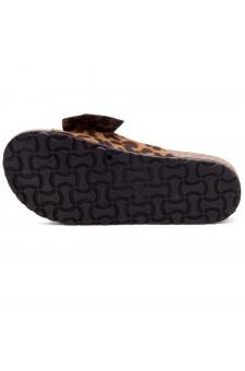 Shoe Land SF-Nylah Women's Knot Bow Slide Sandals Cork Footbed Slip on Slides Casual Platform Slippers (2020Leopard)