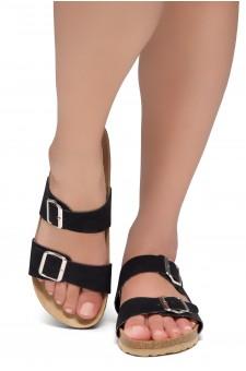 Shoe Land SL-Nylah-Open Toe Buckled Cork Slide Sandal(Black)