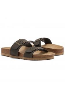 Shoe Land SL-Nylah-Open Toe Buckled Cork Slide Sandal(Khaki)