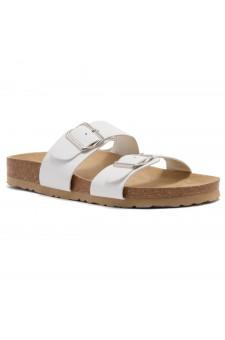 Shoe Land SL-Nylah-Open Toe Buckled Cork Slide Sandal(White)