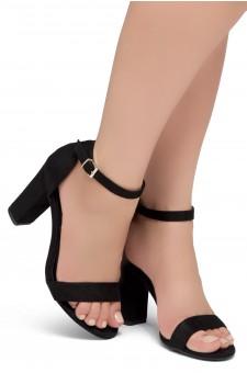 Shoe Land SL-ROMINA-Women's Open Toe Ankle Strap Chunky Block Heel Dress Sandals (Black)