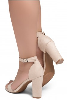 Shoe Land SL-ROMINA-Women's Open Toe Ankle Strap Chunky Block Heel Dress Sandals (Nude)