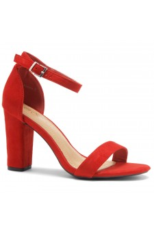 Shoe Land SL-ROMINA-Women's Open Toe Ankle Strap Chunky Block Heel Dress Sandals (Red)