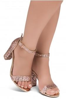 Shoe Land SL-ROMINA-Women's Open Toe Ankle Strap Chunky Block Heel Dress Sandals (RosegoldGlitter)