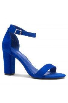 Shoe Land SL-ROMINA-Women's Open Toe Ankle Strap Chunky Block Heel Dress Sandals (RoyalBlue)