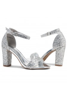 Shoe Land SL-ROMINA-Women's Open Toe Ankle Strap Chunky Block Heel Dress Sandals (SilverGlitter)