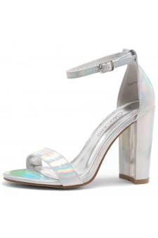 Shoe Land SL-Rosemmina Open Toe Ankle Strap Chunky Heel (1901Silver)