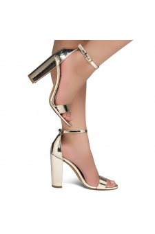 Shoe Land SL-Rosemmina Open Toe Ankle Strap Chunky Heel (1901Gold)