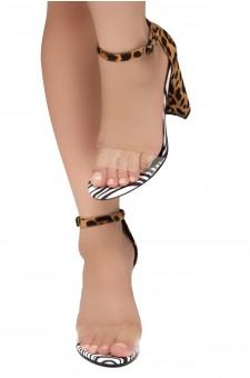 Shoe Land SL-Rosemmina Open Toe Ankle Strap Chunky Heel (ClearLeopard)