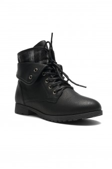 HerStyle SLGABRIANNA-Lace up Plaid Fold down Combat Booties (Black)