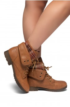 HerStyle SLGABRIANNA-Lace up Plaid Fold down Combat Booties (Tan)