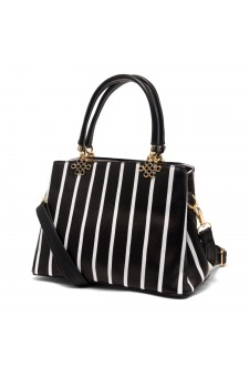 SLD-BELICIA- Minimalist Lines Pattern Casual Tote Bag (Black)