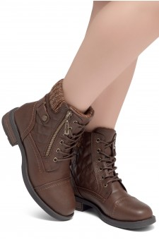 HerStyle SLGABRIANNA-Lace up Plaid Fold down Combat Booties (1721/Brown)