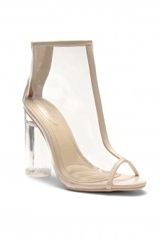 HerStyle Slialissa-Chunky Lucite heel, Perspex upper (ClearNude)