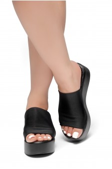 HerStyle Slinky-Open Toe Slide Sandals (Black)