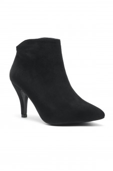 Women's Manmade Slmanderr Sueded Ankle Boot with 3.5-inch Heel - Black