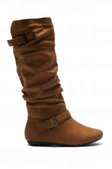 Women's Cognac Slollie Faux Suede Calf Length Slouchy Buckled Up Boots