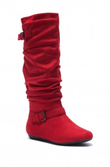 Women's Red Slollie Faux Suede Calf Length Slouchy Buckled Up Boots