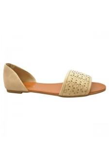 Women's Nude Peep Toe Woven Flat Sandal SLPENINA
