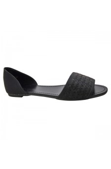 Women's Black Peep Toe Woven Flat Sandal SLPENINA