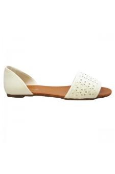 Women's White Peep Toe Woven Flat Sandal SLPENINA