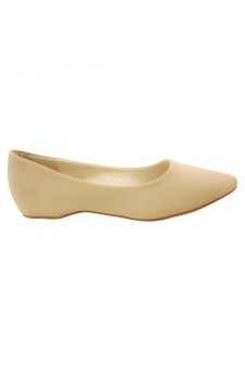 Women's Nude Manmade Smarrillee Smooth Pump Flat with Gently Pointed Toe