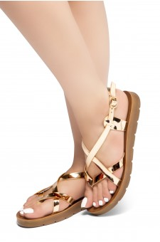 HerStyle SMOOTH MOVE- Flat Sandal with straps cross vamp(RoseGold)