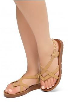 HerStyle SMOOTH MOVE- Flat Sandal with straps cross vamp(Tan)