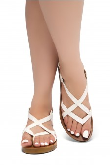 HerStyle SMOOTH MOVE- Flat Sandal with straps cross vamp(White)