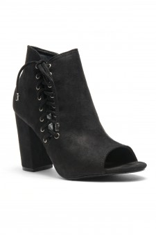 HerStyle Snoorrii Side Lace up Toe Peep Toe Chunky Heeled Booties (Black)