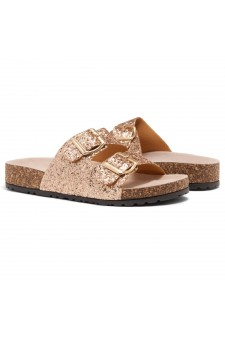 HerStyle SOFTEY-Open Toe Buckled Cork Slide Sandal(1836 RosegoldGLT)