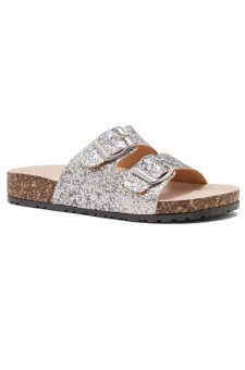 HerStyle SOFTEY-Open Toe Buckled Cork Slide Sandal(1836 SilverGLT)