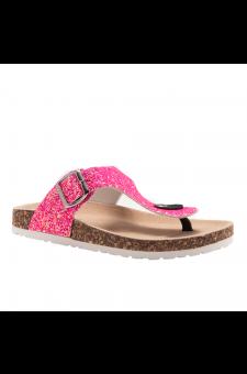 HerStyle SOFTEY-Open Toe Buckled Cork Slide Sandal(1896 PinkGlitter)