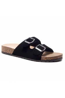 HerStyle SOFTEY-Open Toe Buckled Cork Slide Sandal(Black)