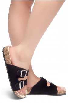 HerStyle SOFTEY-Open Toe Buckled Cork Slide Sandal(Black)