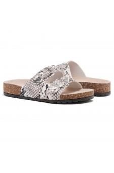 HerStyle SOFTEY-Open Toe Buckled Cork Slide Sandal(BLK/WHTSNK)